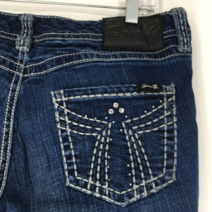 Seven 7 14 Jeans Bootcut Dark Wash Bling Pockets